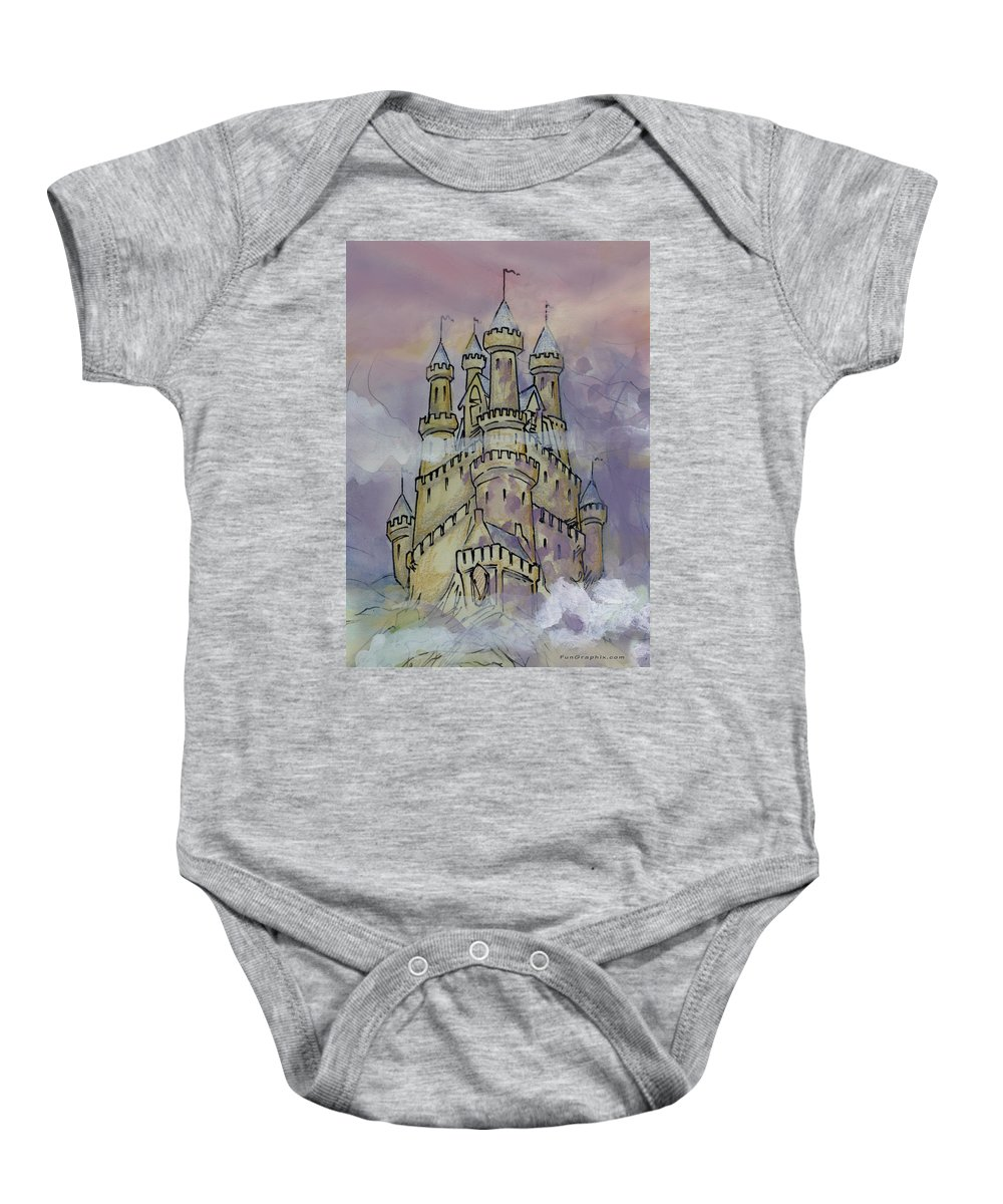 Castle Baby Onesie featuring the greeting card Castle by Kevin Middleton