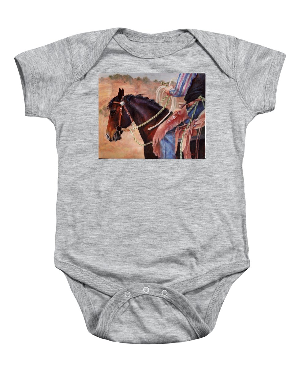 Horse Baby Onesie featuring the painting Castle Rock Buckaroo Western Cowboy Painting by Kim Corpany