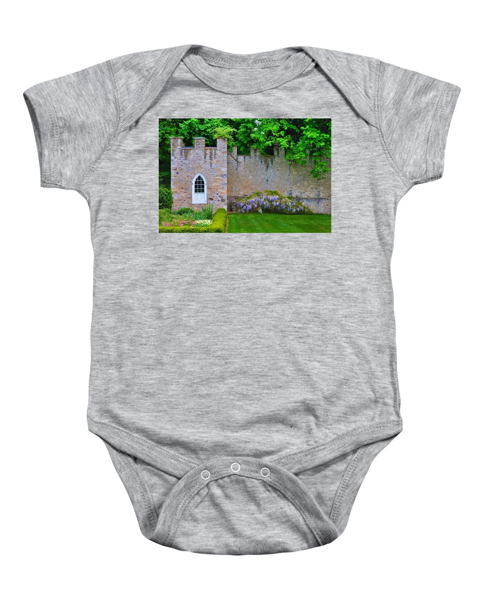 Highlands Baby Onesie featuring the photograph Castle Wall At The Highlands by Bill Cannon