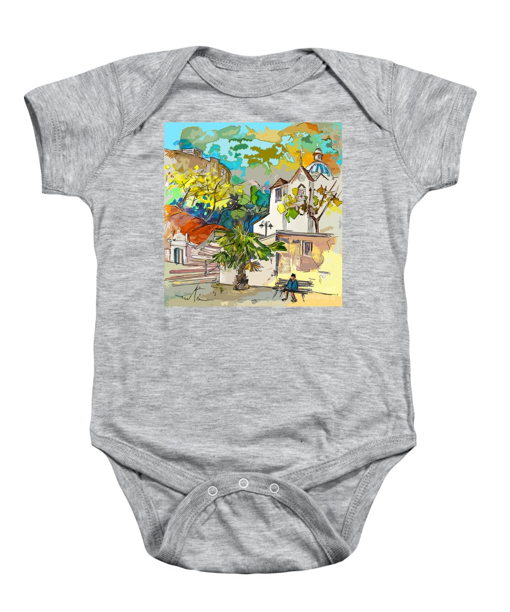 Castro Marim Portugal Algarve Painting Travel Sketch Baby Onesie featuring the painting Castro Marim Portugal 13 Bis by Miki De Goodaboom