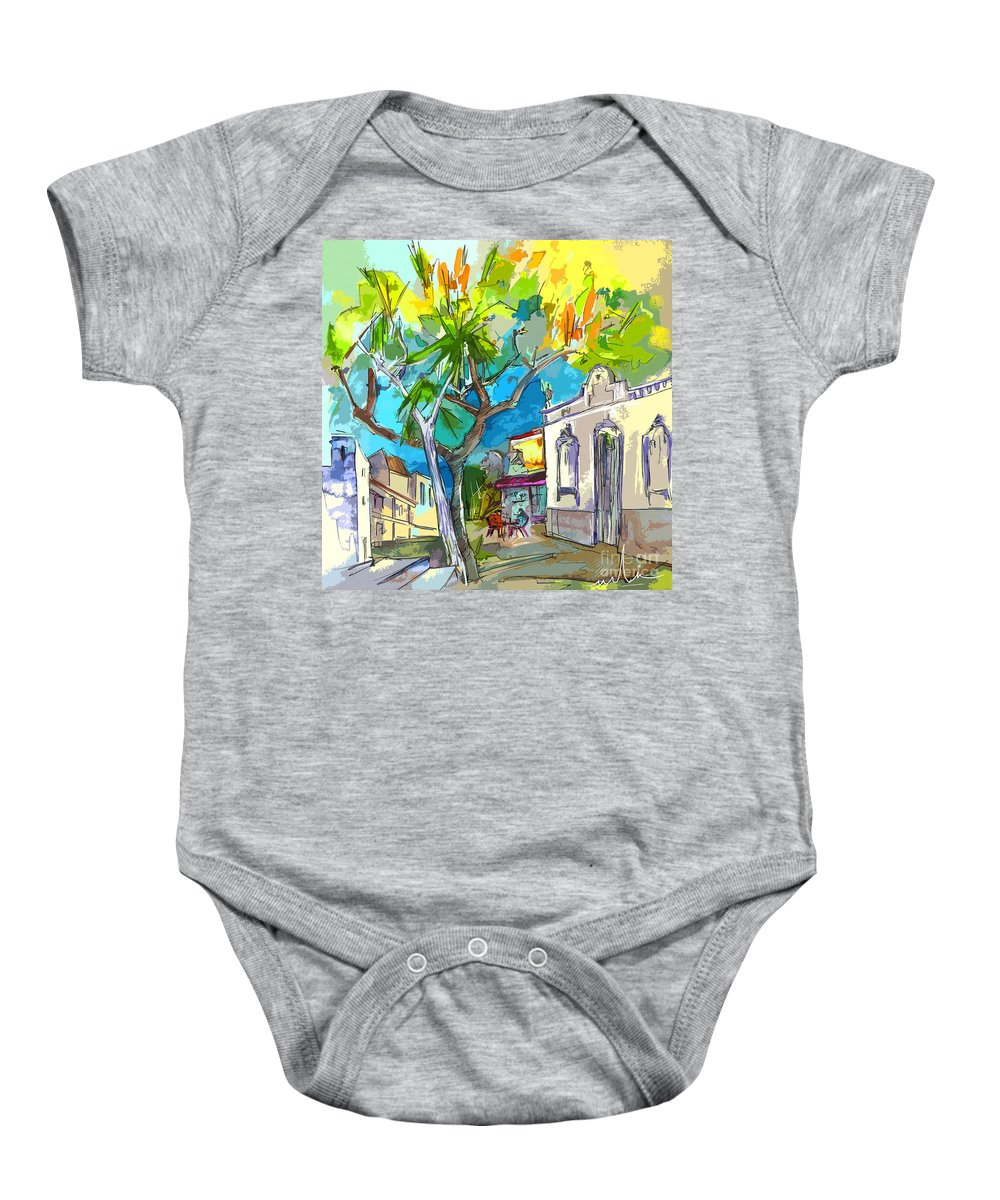 Castro Marim Portugal Algarve Painting Travel Sketch Baby Onesie featuring the painting Castro Marim Portugal 14 Bis by Miki De Goodaboom