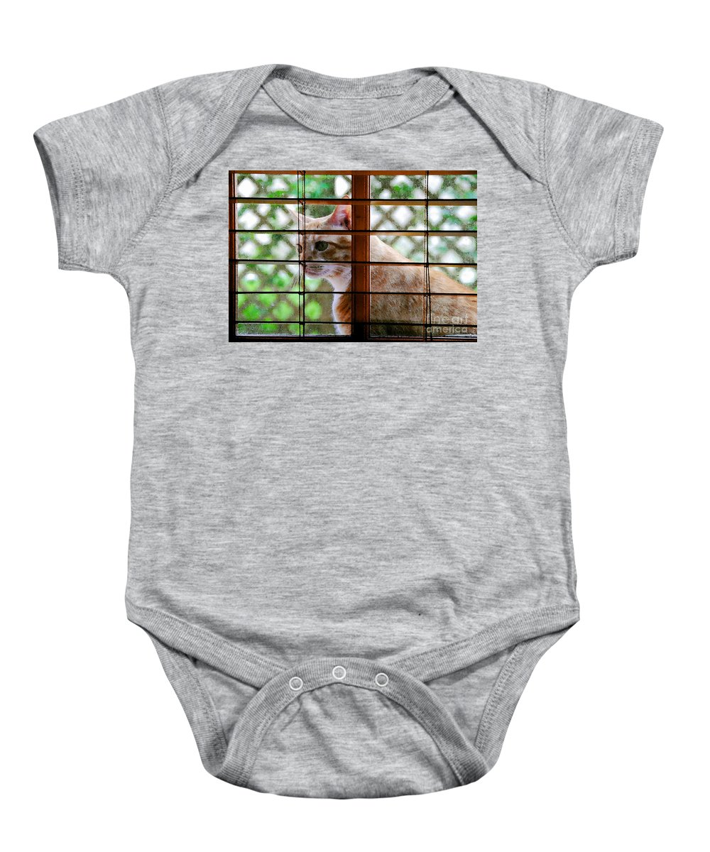 Feline Baby Onesie featuring the painting Cat At The Window by David Lee Thompson