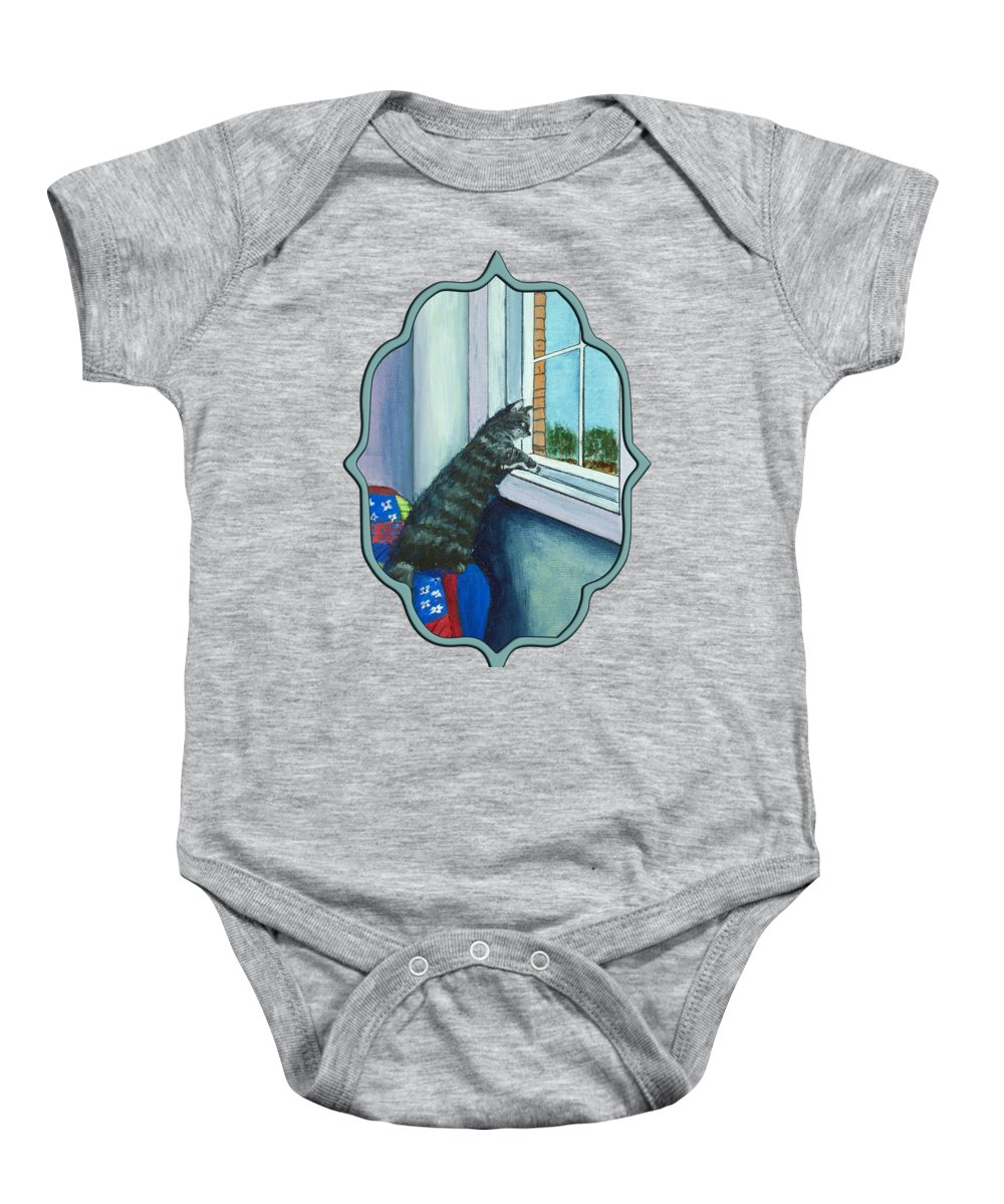 Malakhova Baby Onesie featuring the painting Cat By The Window by Anastasiya Malakhova