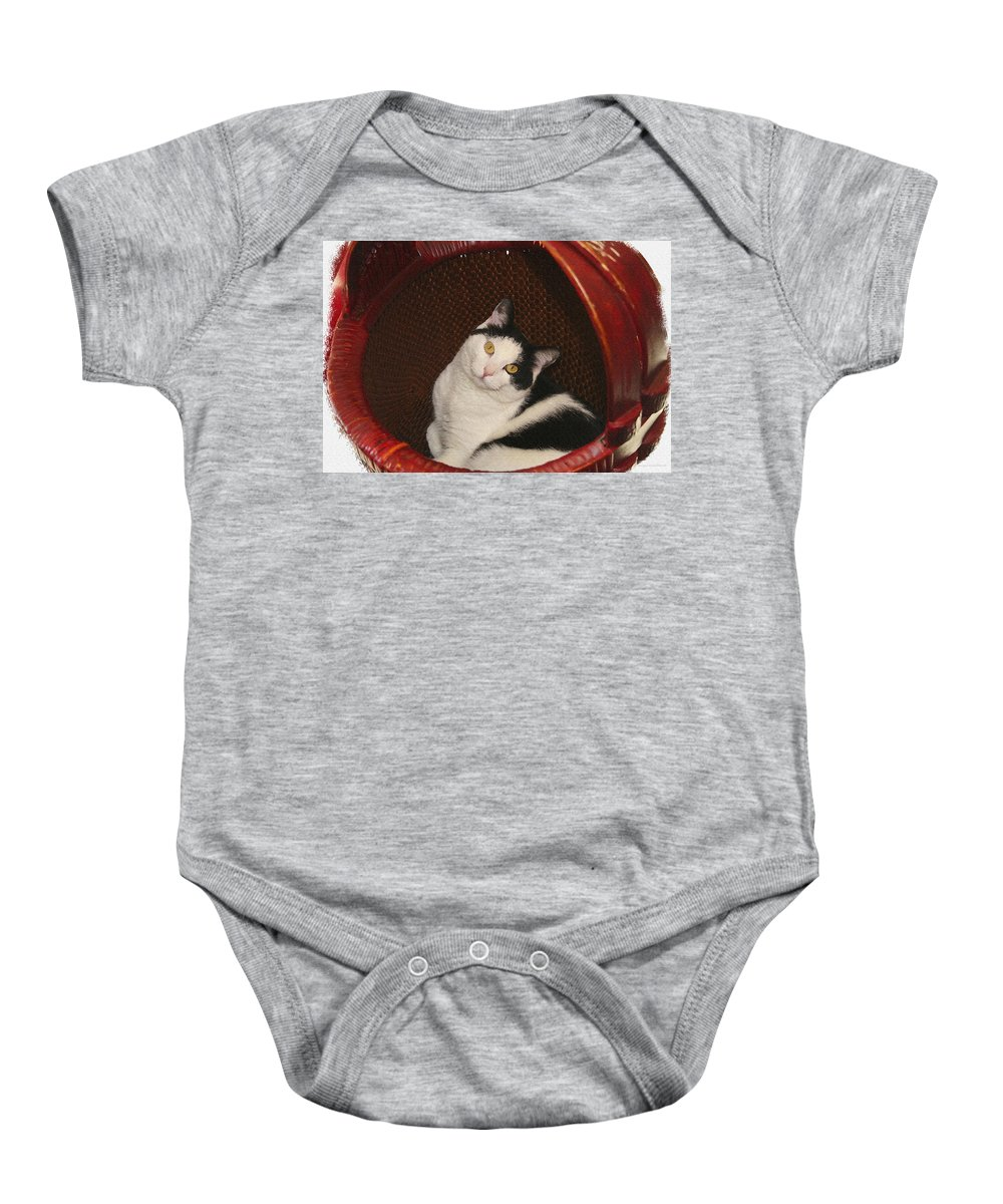 Cat Baby Onesie featuring the photograph Cat In A Basket by Margie Wildblood