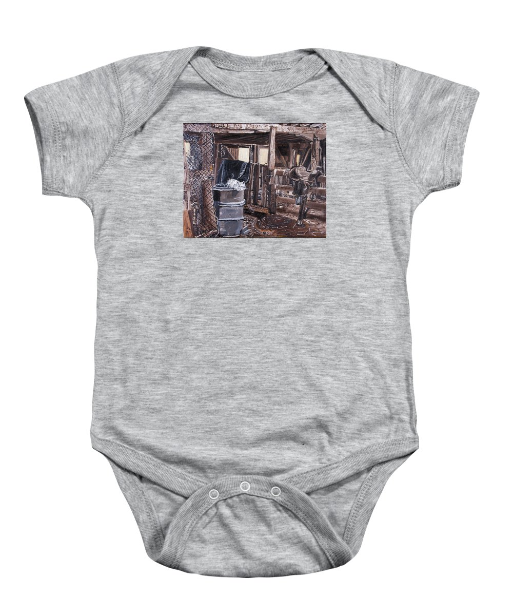 Painting Baby Onesie featuring the painting Cat In The Barn by David Martin