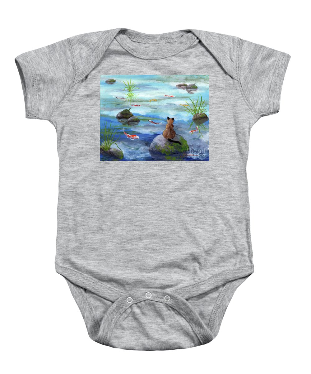 Zen Baby Onesie featuring the painting Cat Koi And Turtle Among The Cloud Reflections by Laura Iverson