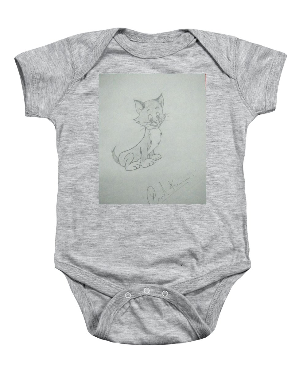 Cat Baby Onesie featuring the drawing Cat Sketch Drawing by Rahul Rana