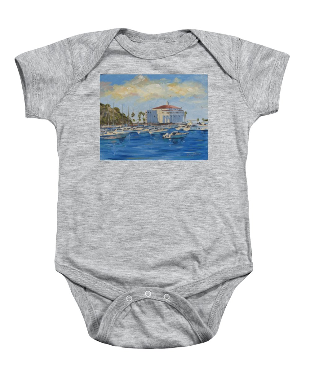 California Baby Onesie featuring the painting Catallina Casino by Jay Johnson