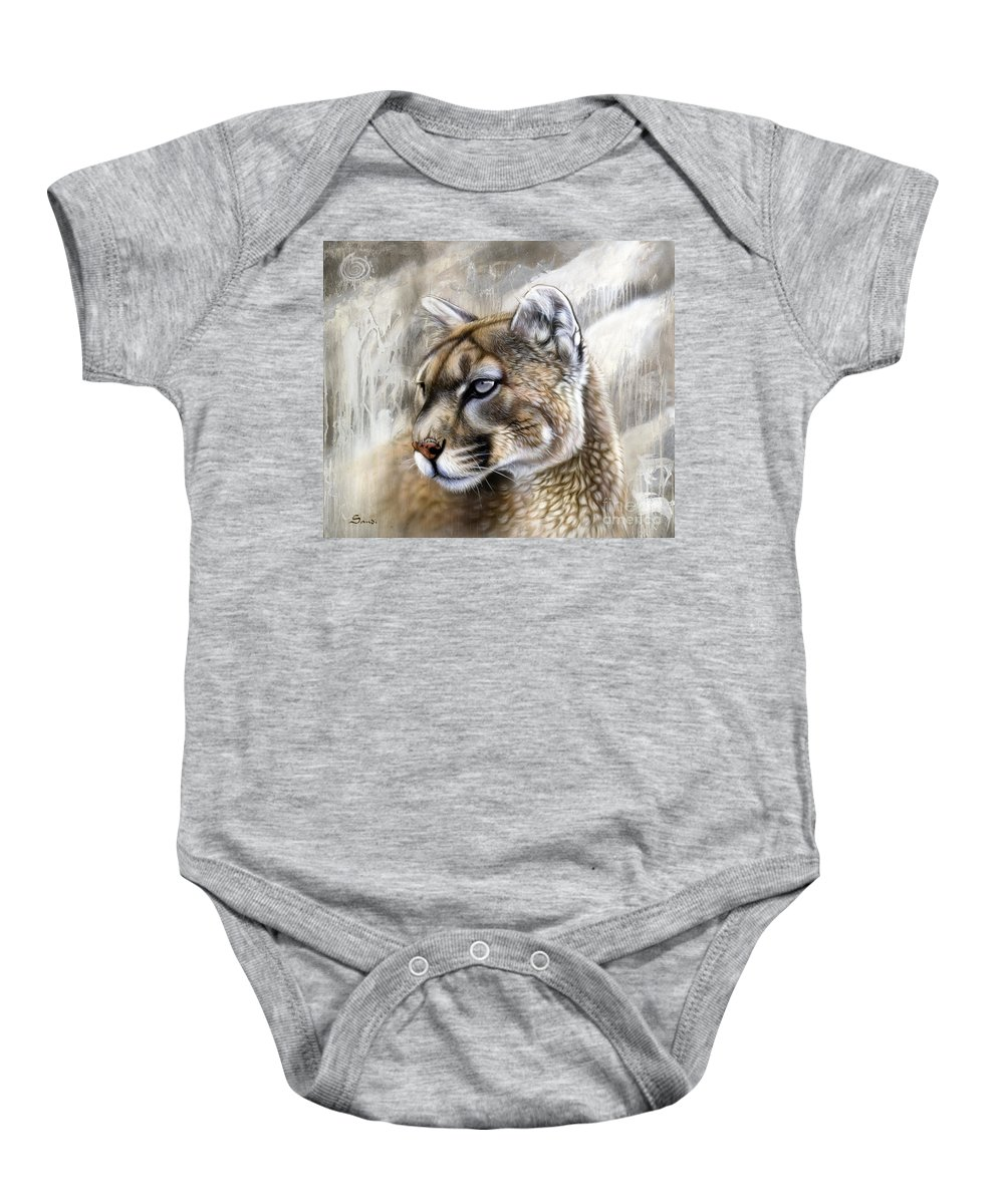 Acrylic Baby Onesie featuring the painting Catamount by Sandi Baker