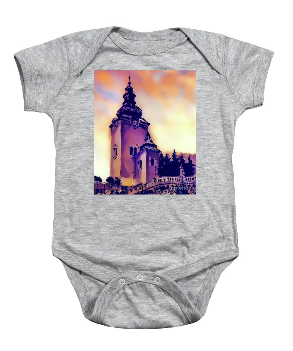 Church Baby Onesie featuring the painting Catholic Church Building, Architectural Dominant Of The City, Graphic From Painting. by Jozef Klopacka