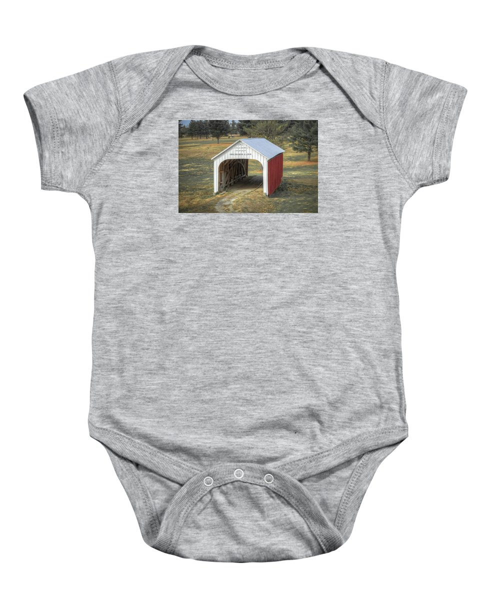 America Baby Onesie featuring the photograph Catlin Covered Bridge by Jack R Perry