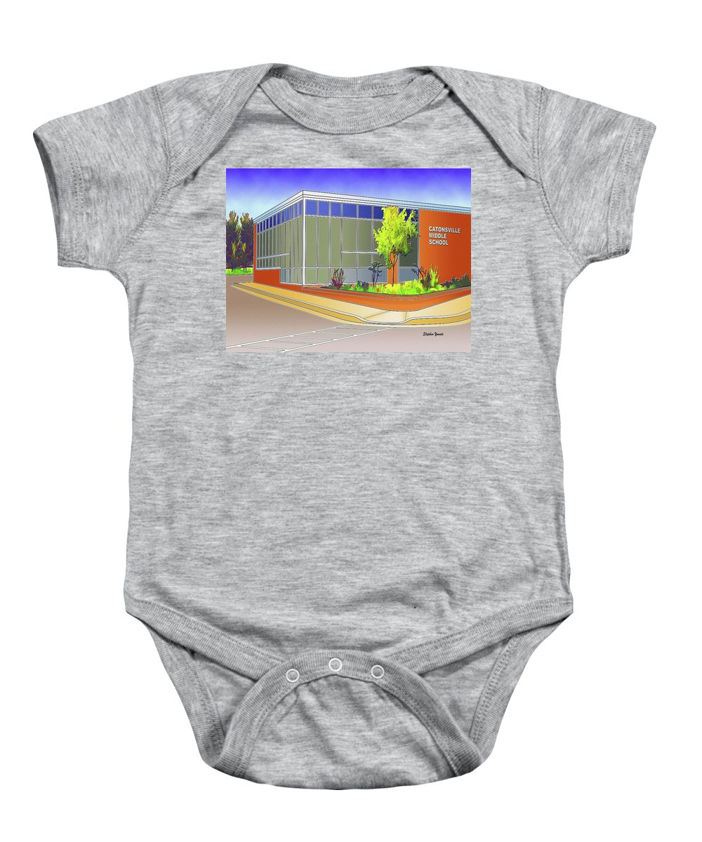 Catonsville Baby Onesie featuring the digital art Catonsville Middle School by Stephen Younts