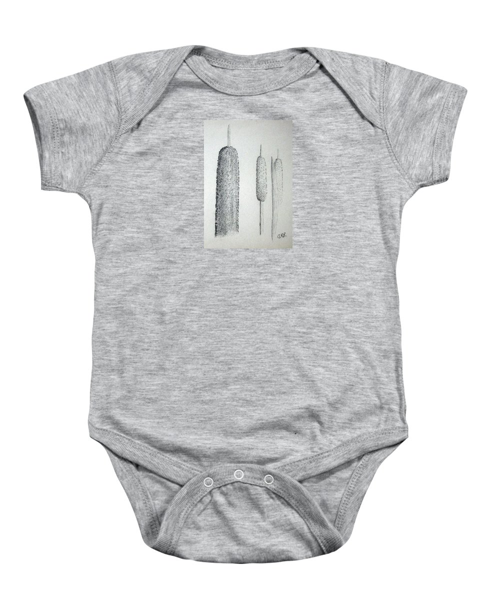 Cattails Baby Onesie featuring the drawing Cattails 4 by J R Seymour