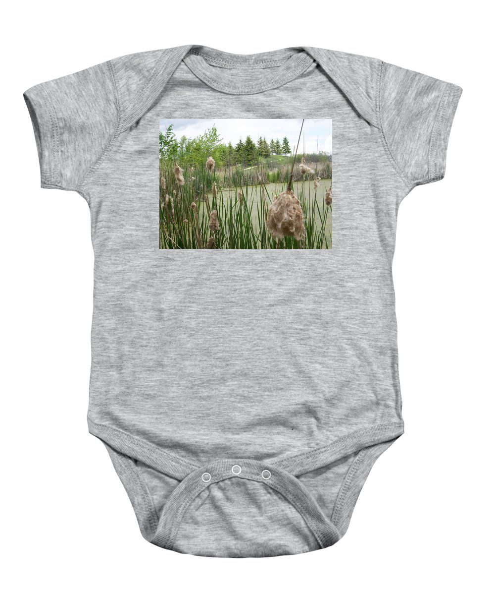 Wetlands Baby Onesie featuring the photograph Cattails by Mary Mikawoz
