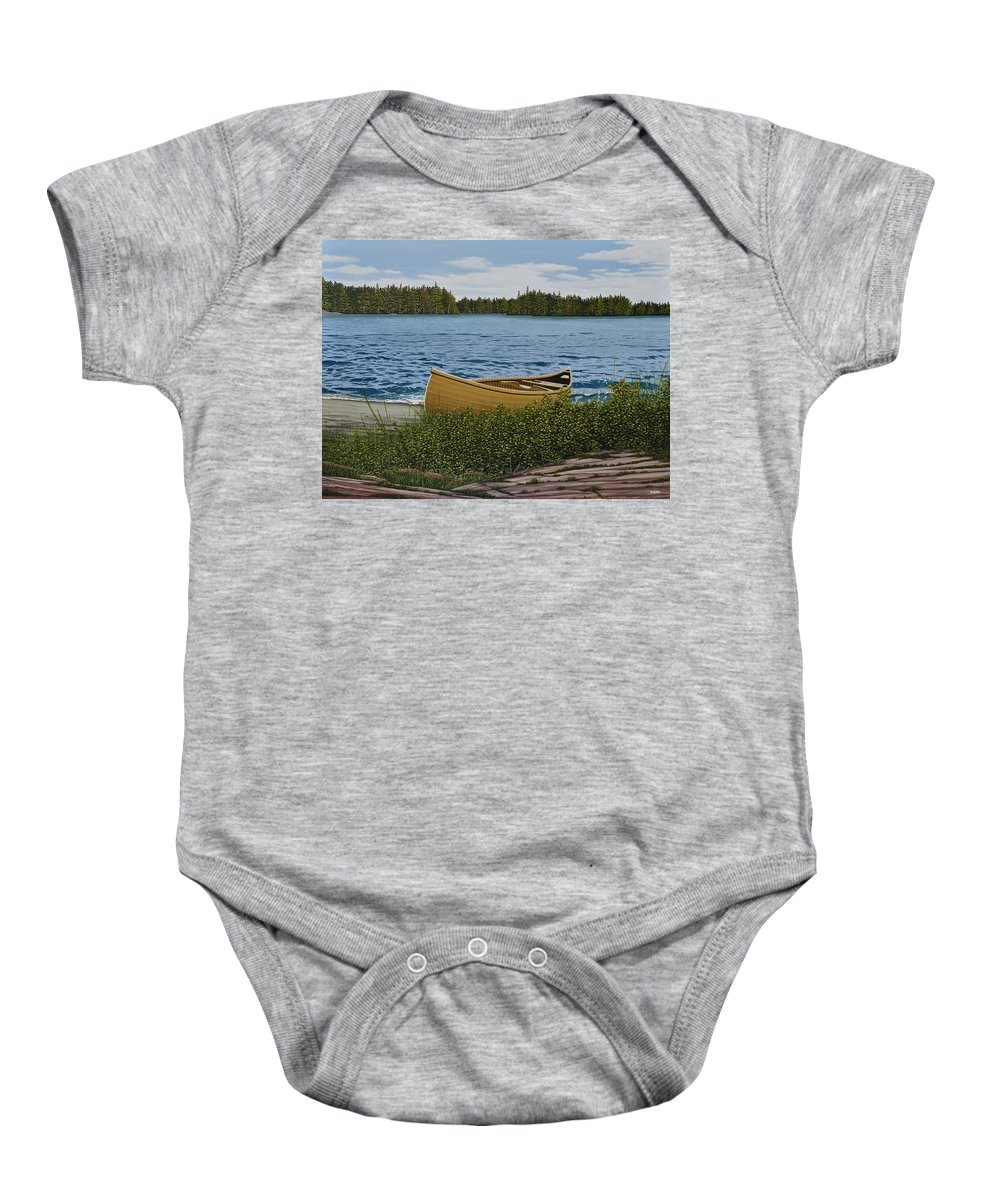 Landscapes Baby Onesie featuring the painting Cedar Canoe by Kenneth M Kirsch