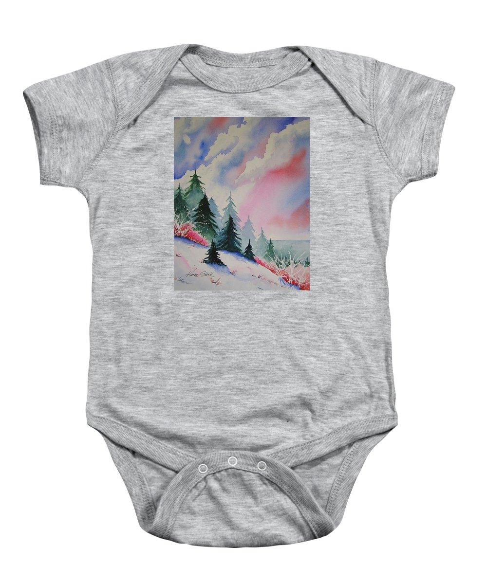 Snow Baby Onesie featuring the painting Cedar Fork Snow by Karen Stark