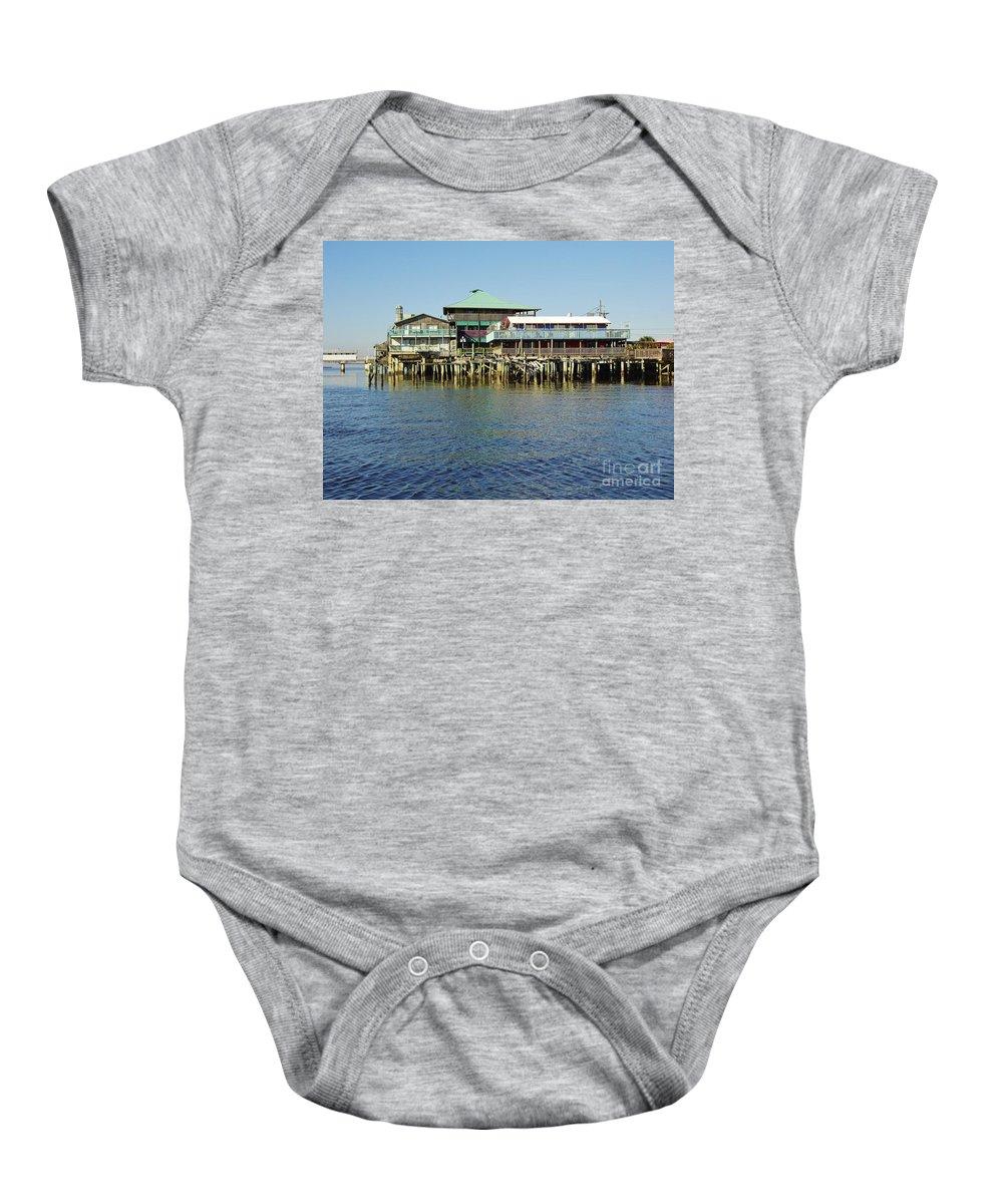 Cedar Key Baby Onesie featuring the photograph Cedar Key Waterfront by D Hackett