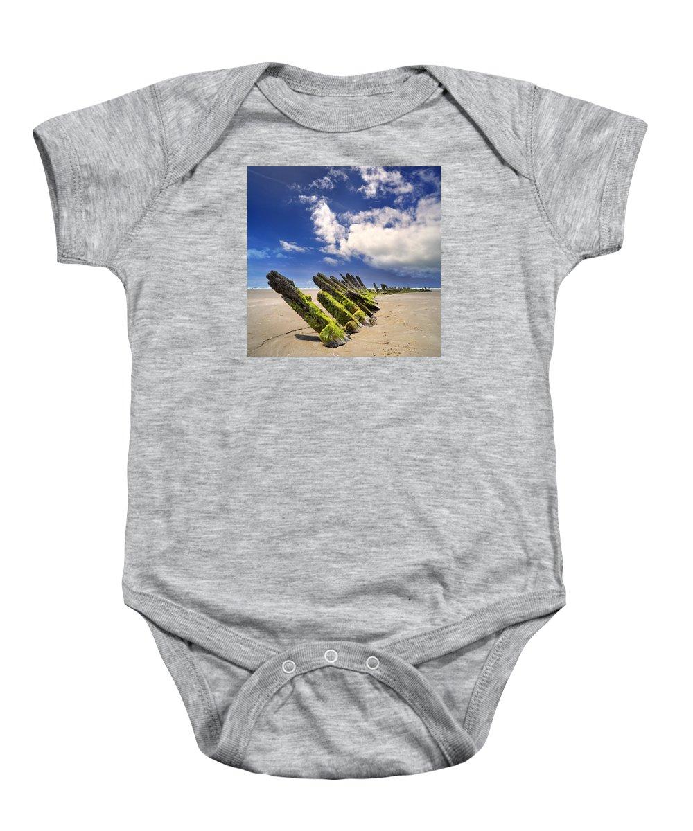 Cefn Sidan Baby Onesie featuring the photograph Cefn Sidan Beach 3 by Phil Fitzsimmons