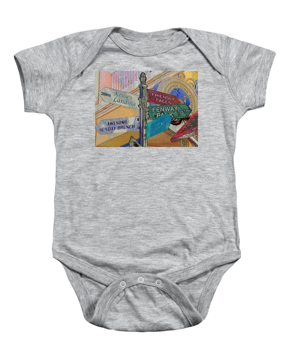 Celebration Town Center Baby Onesie featuring the painting Celebration Town Directional by David Lee Thompson