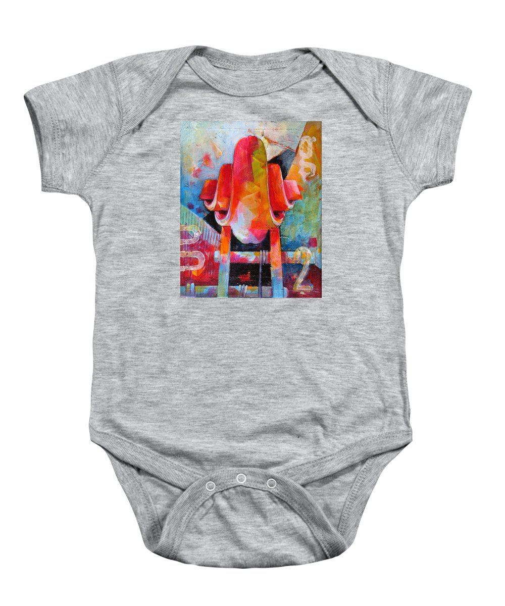 Musical Artwork Baby Onesie featuring the painting Cello Head In Blue And Red by Susanne Clark