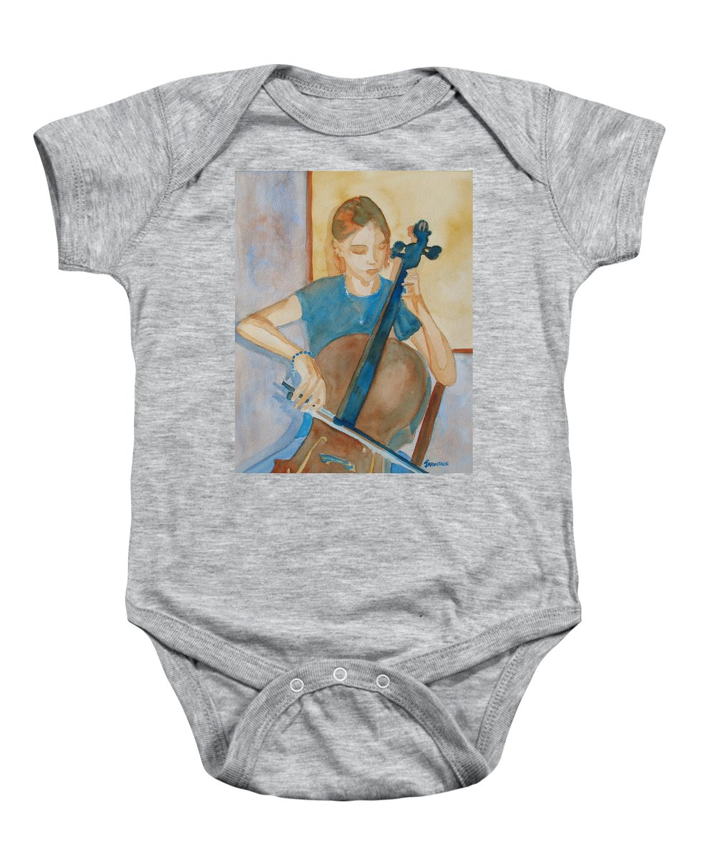 Girl Baby Onesie featuring the painting Cello Practice Iv by Jenny Armitage