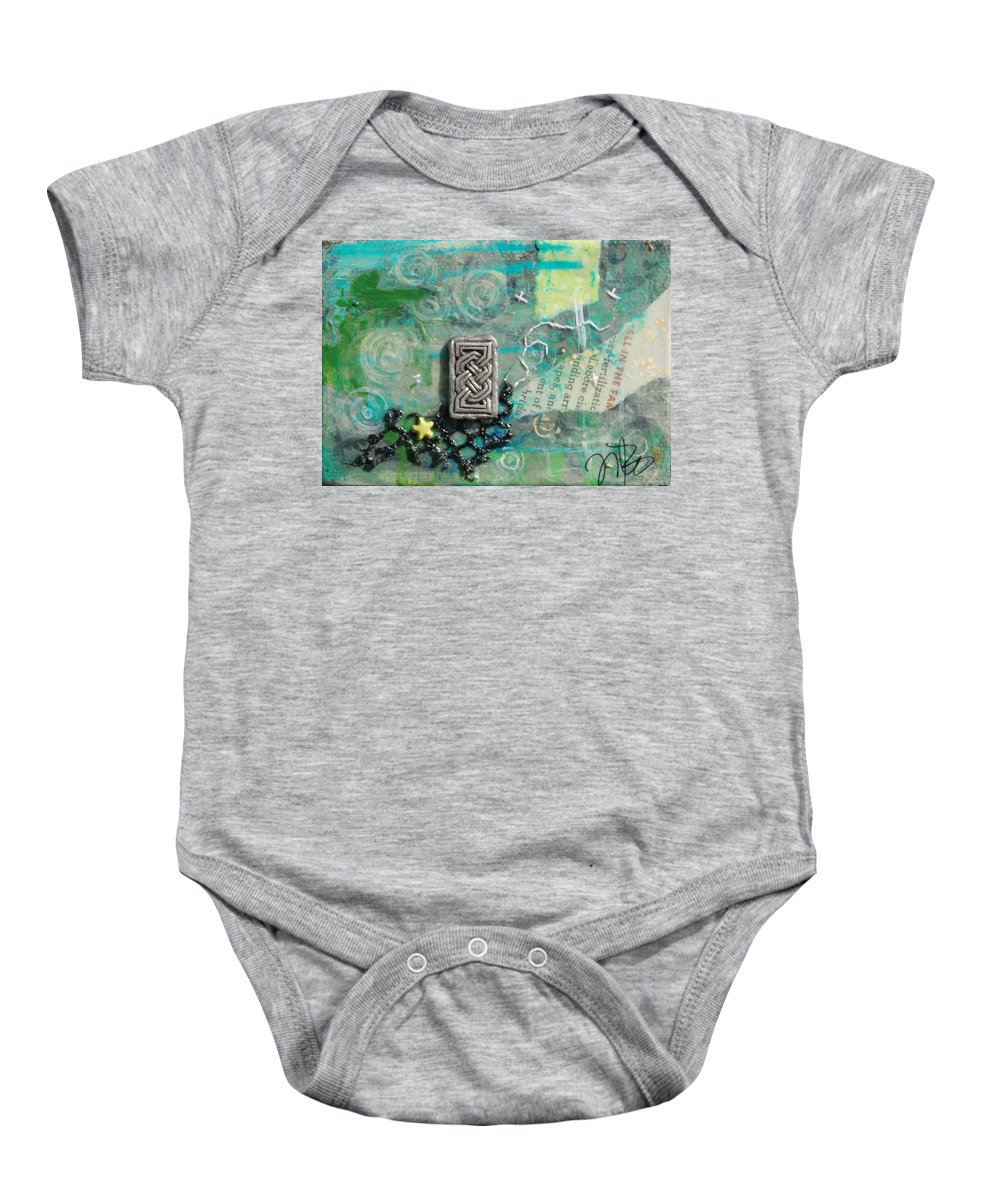 Celtic Baby Onesie featuring the mixed media Celtic Tones by Jennifer Kelly