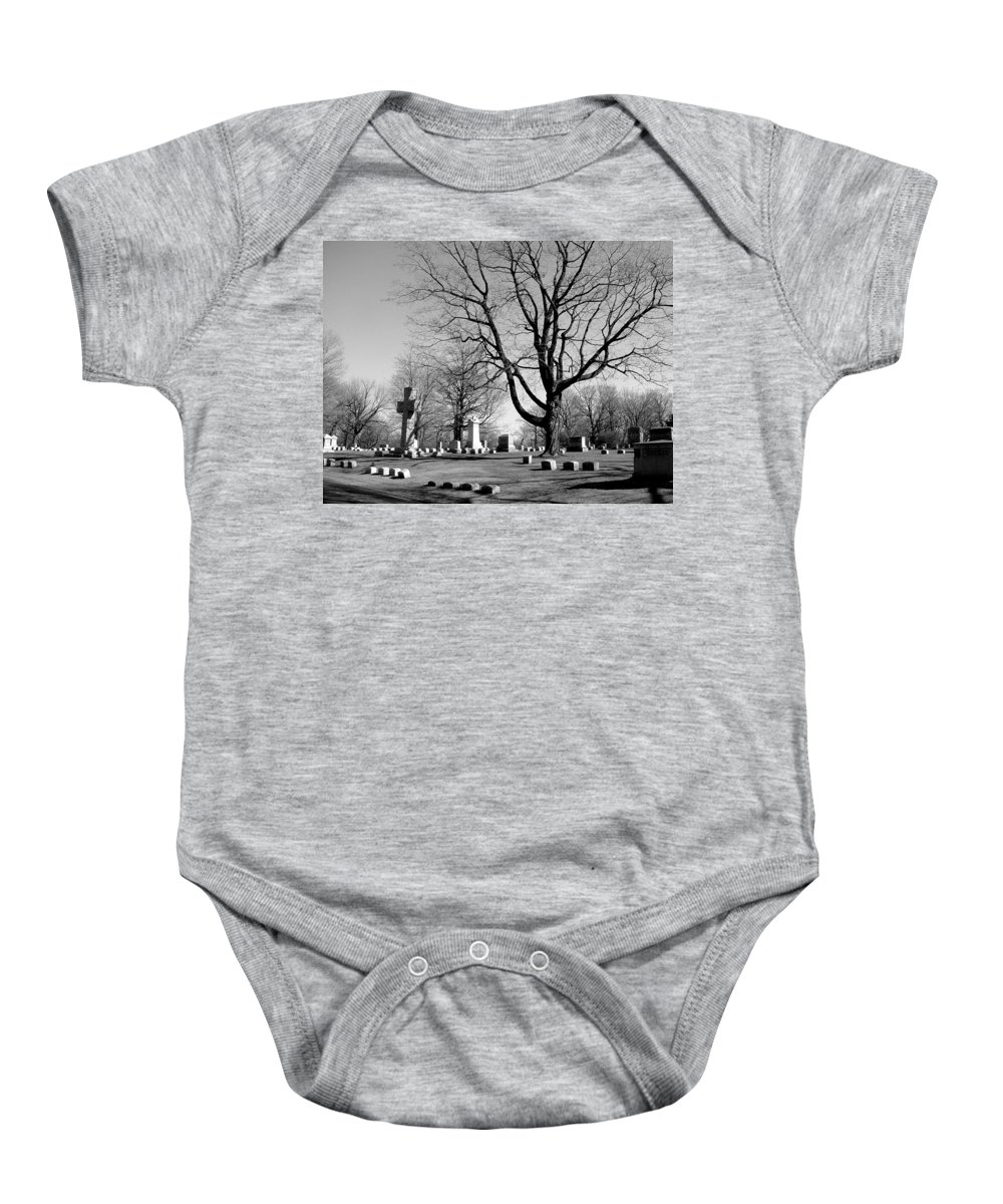 Cemetery Baby Onesie featuring the photograph Cemetery 5 by Anita Burgermeister