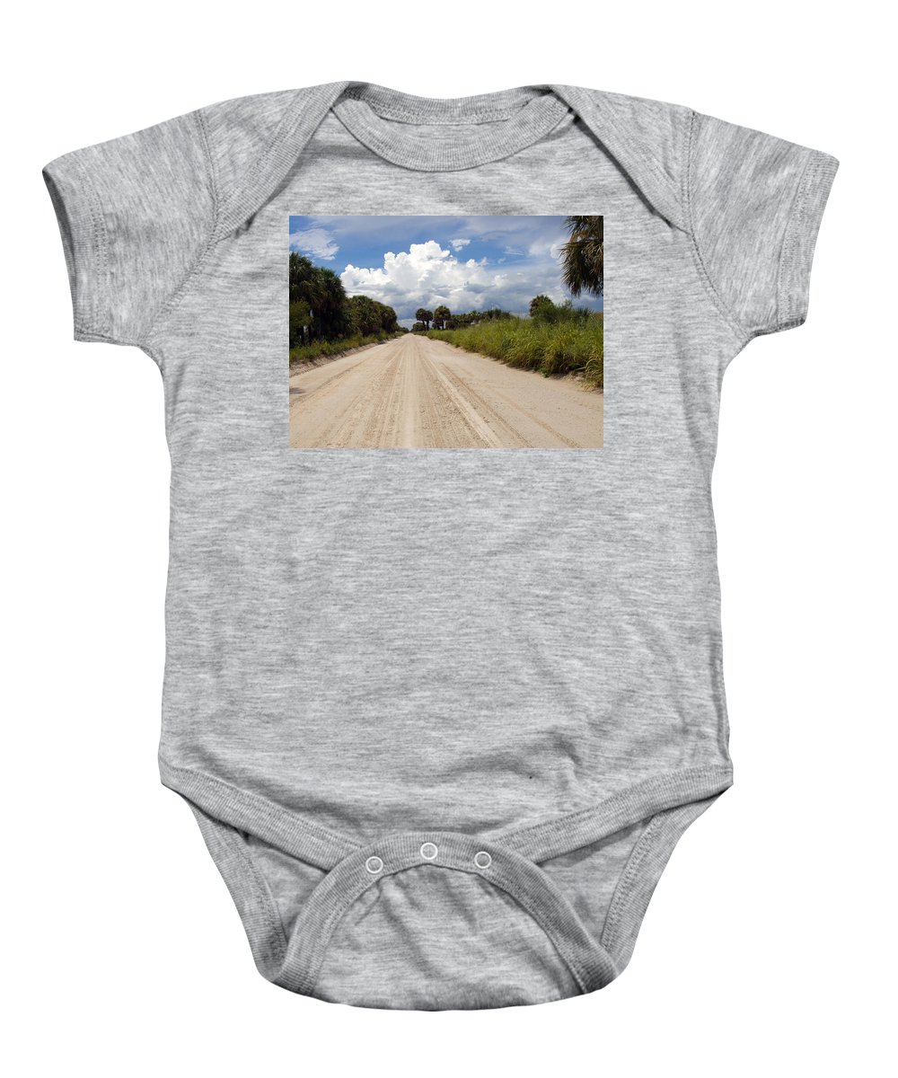 Florida; Road; Back; Backroad; Central; Dirt; Plow; Plowed; Clay; Mud; Muddy; Places; Unknown; Trave Baby Onesie featuring the photograph Central Florida Back Road by Allan Hughes