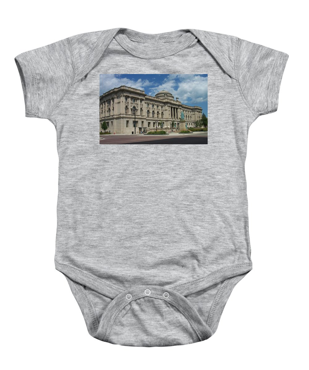 Central Library Baby Onesie featuring the photograph Central Library Milwaukee Full View by Anita Burgermeister