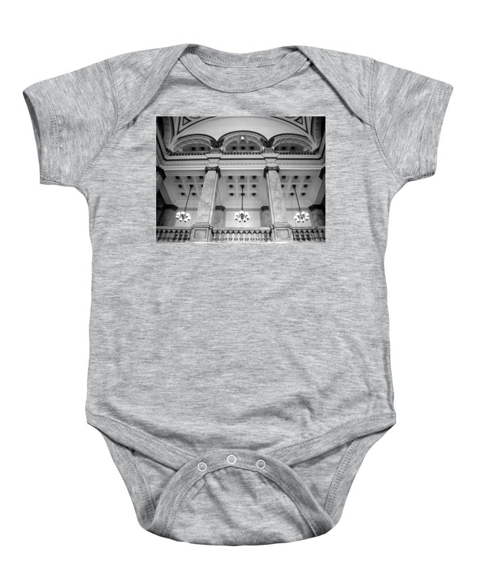 Central Library Baby Onesie featuring the photograph Central Library Milwaukee Interior Bw by Anita Burgermeister
