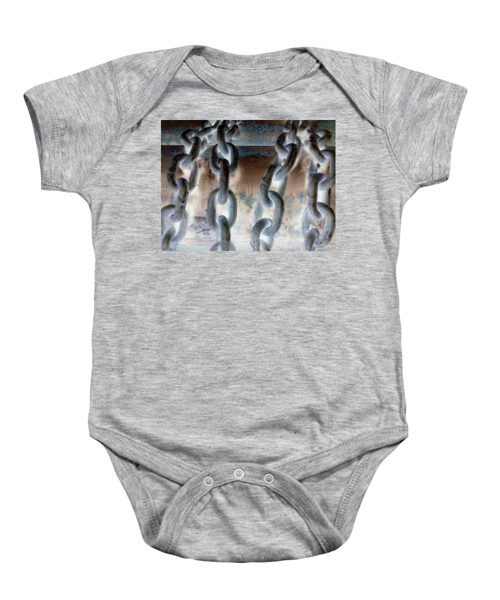 Chains Baby Onesie featuring the photograph Chains - Nagative by Cindy New