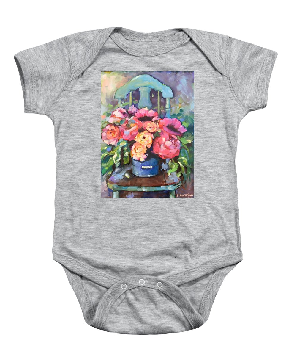 Antique Chair Baby Onesie featuring the painting Chair With Flowers by Rebecca Matthews