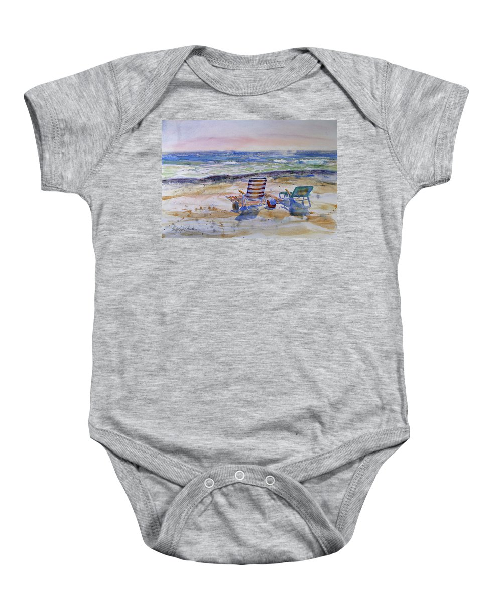 Chairs Baby Onesie featuring the painting Chairs On The Beach by Shirley Sykes Bracken