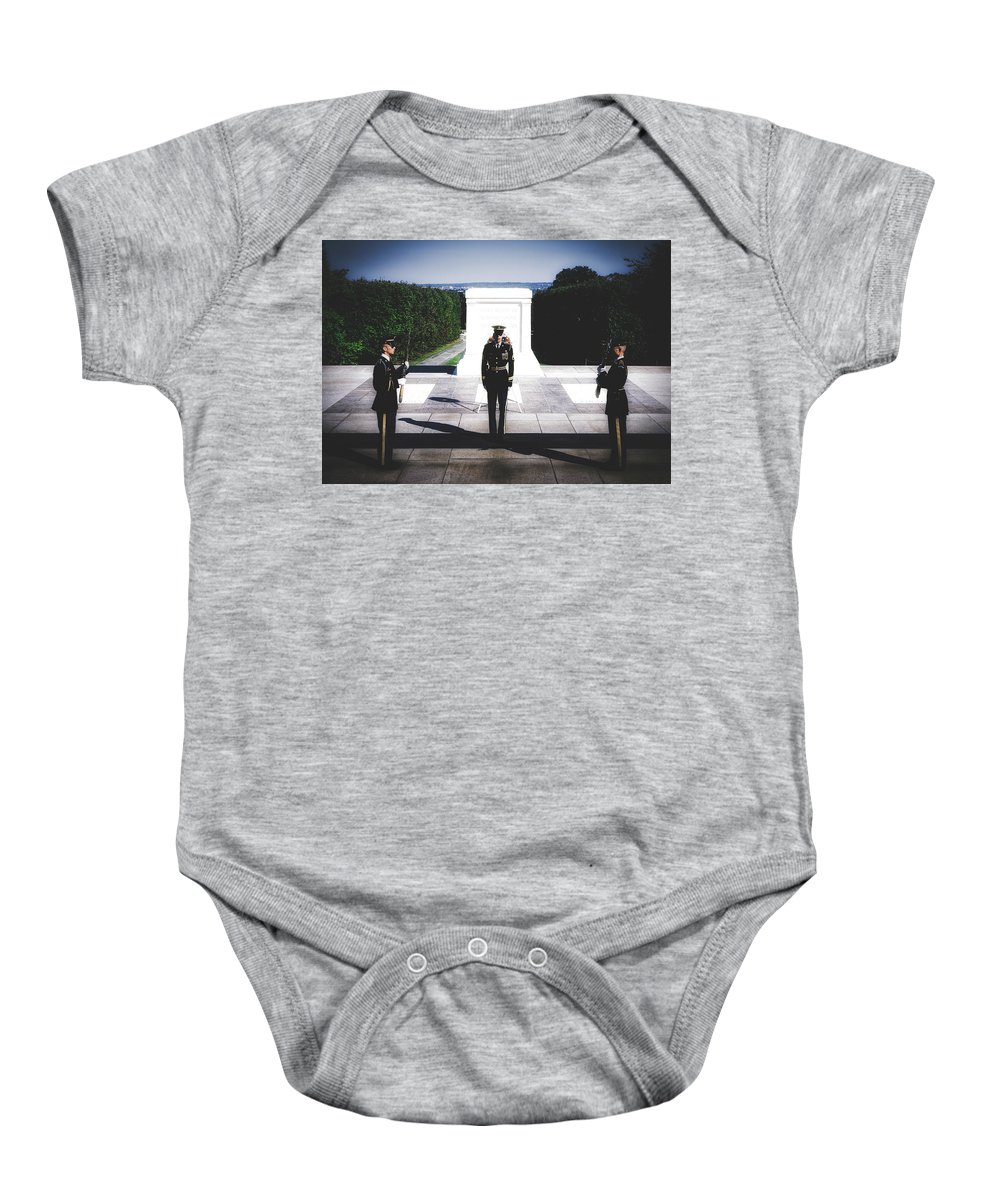 Changing Of The Guard Baby Onesie featuring the photograph Changing Of The Guard At The Tomb Of The Unknowns At Arlington by Library Of Congress