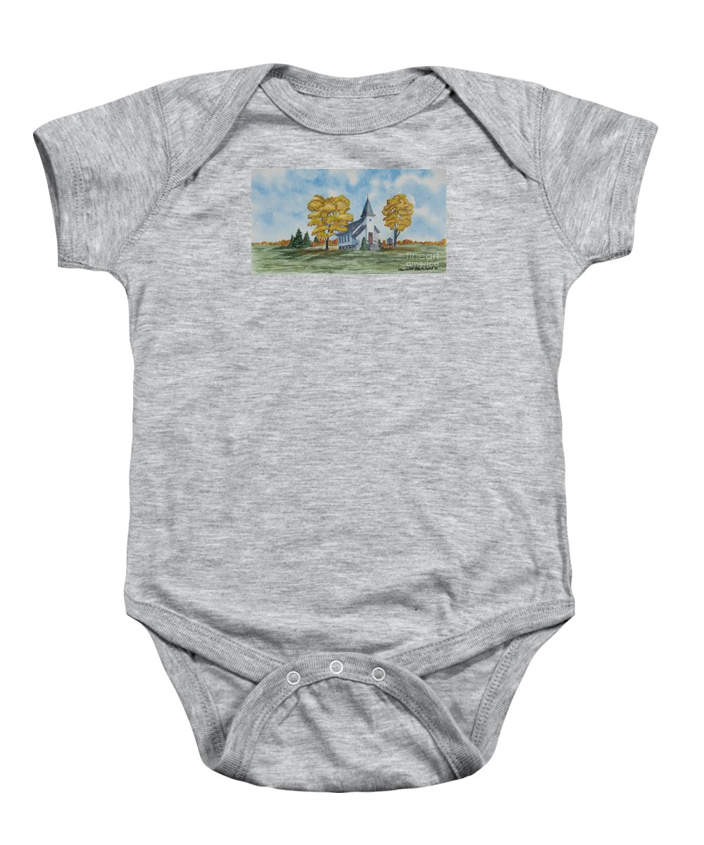 Fall Baby Onesie featuring the painting Chapel In Fall by Charlotte Blanchard