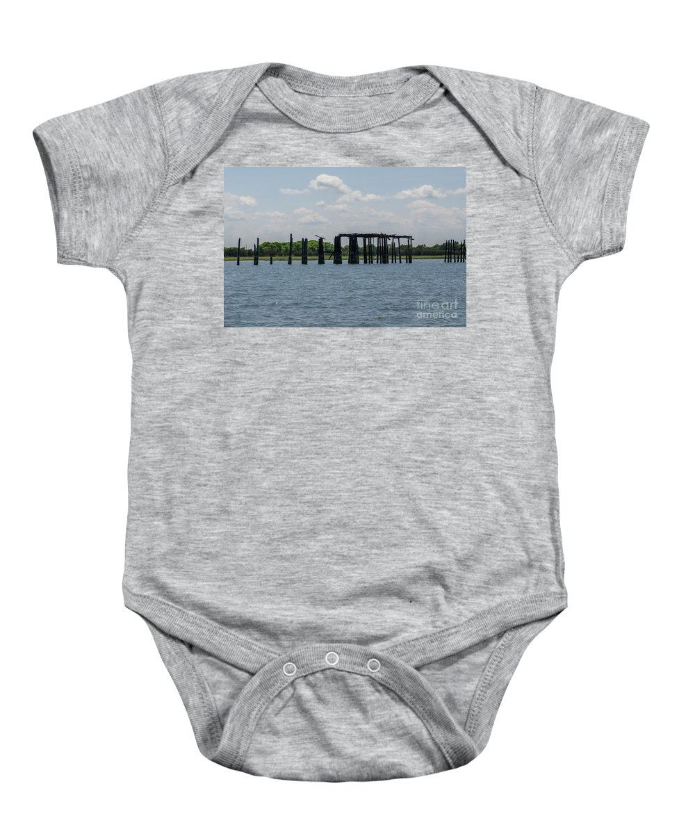 Coal Tipple Baby Onesie featuring the photograph Charleston Export Coal Terminal Wooden Testle by Dale Powell