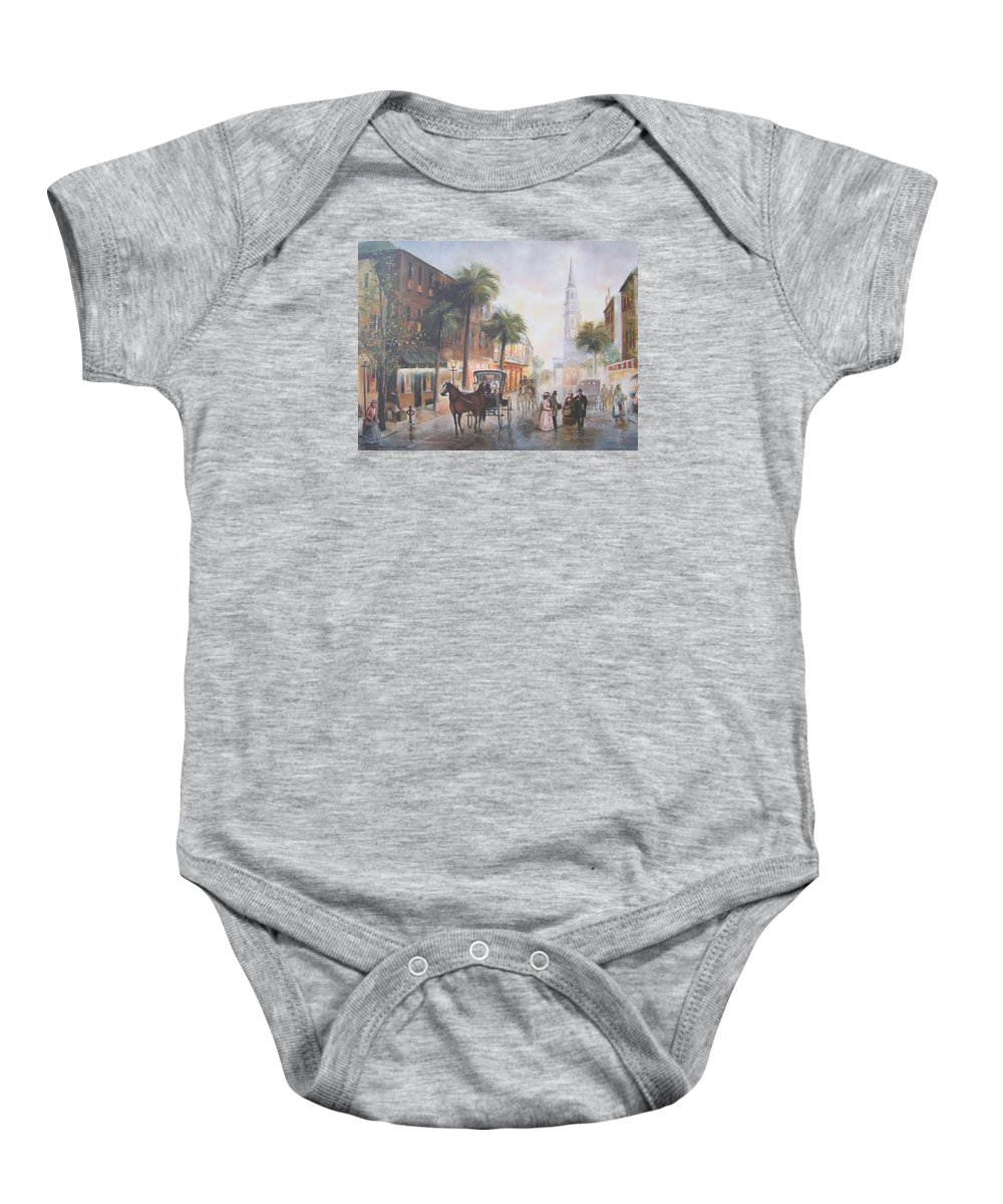 Charleston Baby Onesie featuring the painting Charleston Somewhere In Time by Charles Roy Smith