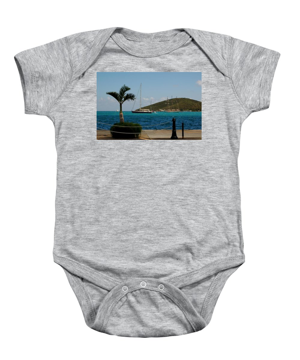St. Thomas Baby Onesie featuring the photograph Charlotte Amalie Harbor by Christopher James