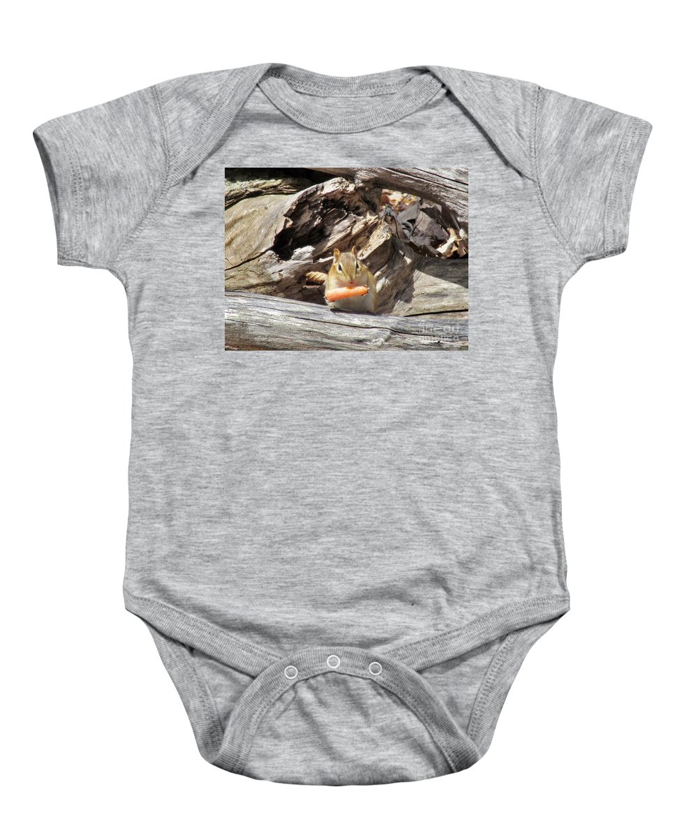 Nature Baby Onesie featuring the photograph Charming Chipmunk by Elizabeth Duggan