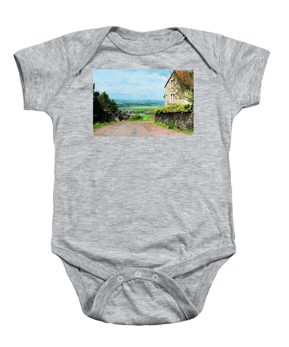 Chateauneuf Baby Onesie featuring the photograph Chateauneuf, Cote-d'or, France, Village Lane by Curt Rush