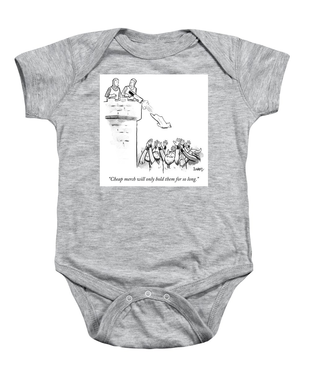 """""""cheap Merch Will Only Hold Them For So Long."""" Baby Onesie featuring the drawing Cheap Merch by Benjamin Schwartz"""