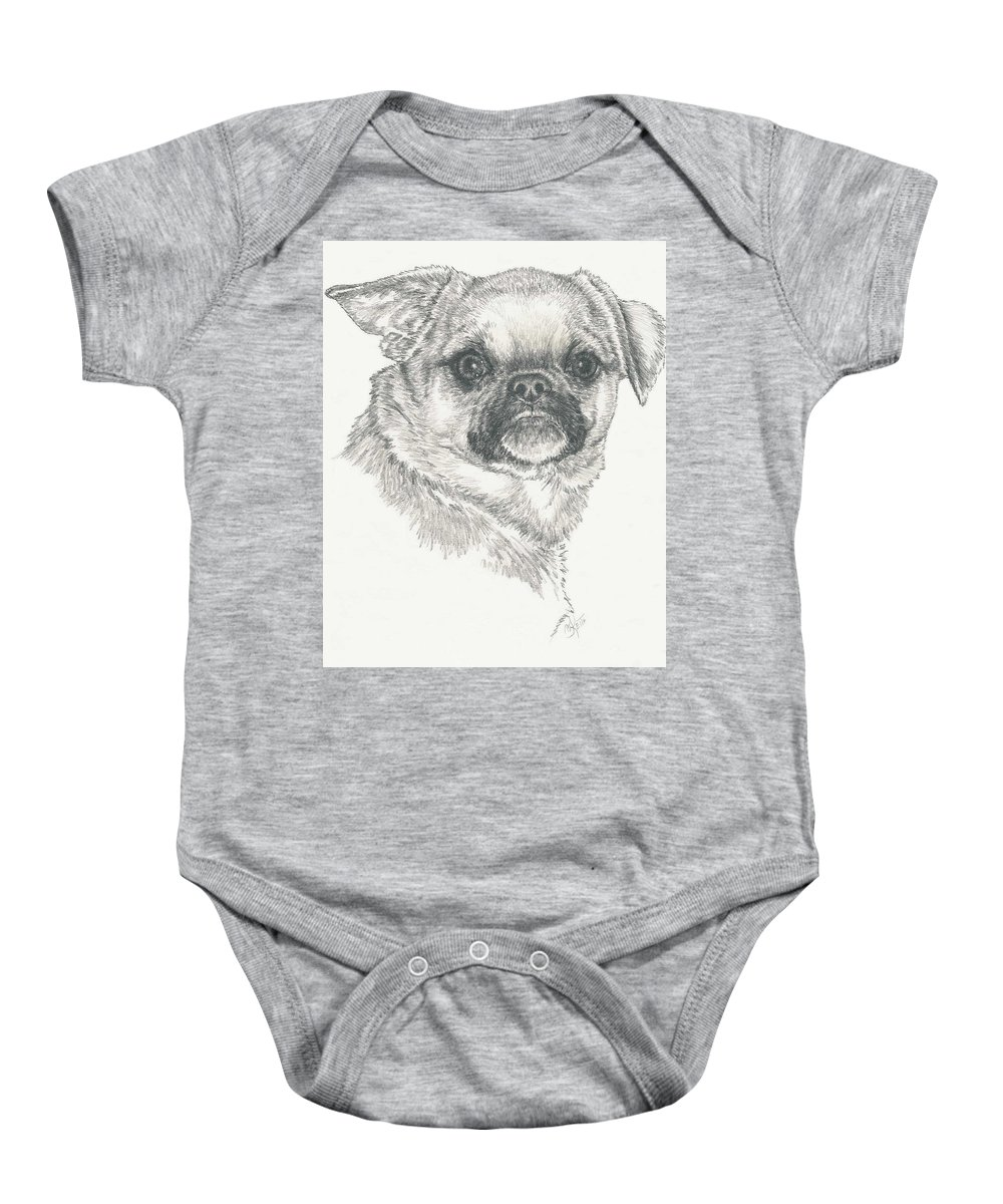 Designer Dog Baby Onesie featuring the drawing Cheeky Cheeks by Barbara Keith