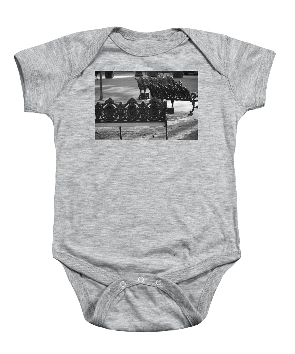 Black And White Baby Onesie featuring the photograph Cherb Benches by Rob Hans