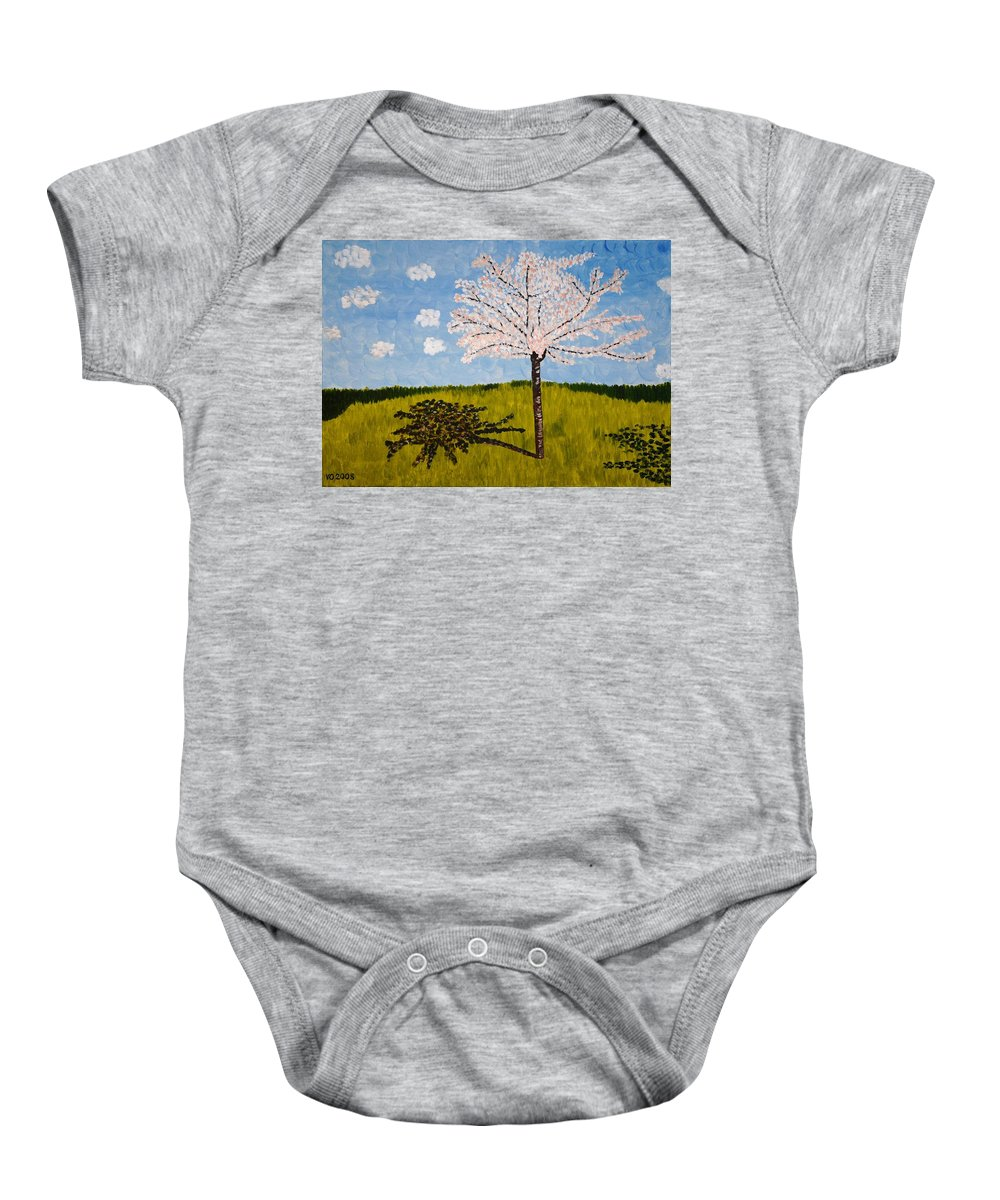 Cherry Baby Onesie featuring the painting Cherry Blossom Tree by Valerie Ornstein