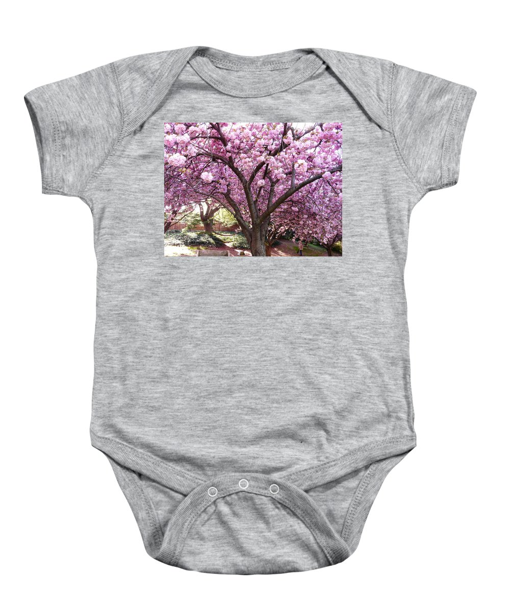Cherry Blossom Baby Onesie featuring the photograph Cherry Blossom Wonder by Kendall Eutemey