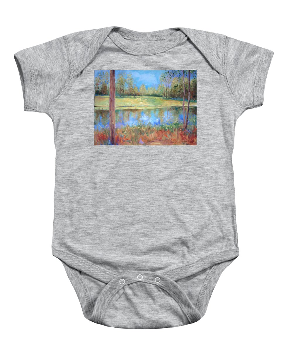 Ponds Baby Onesie featuring the painting Cherry Moon Pond by Ginger Concepcion