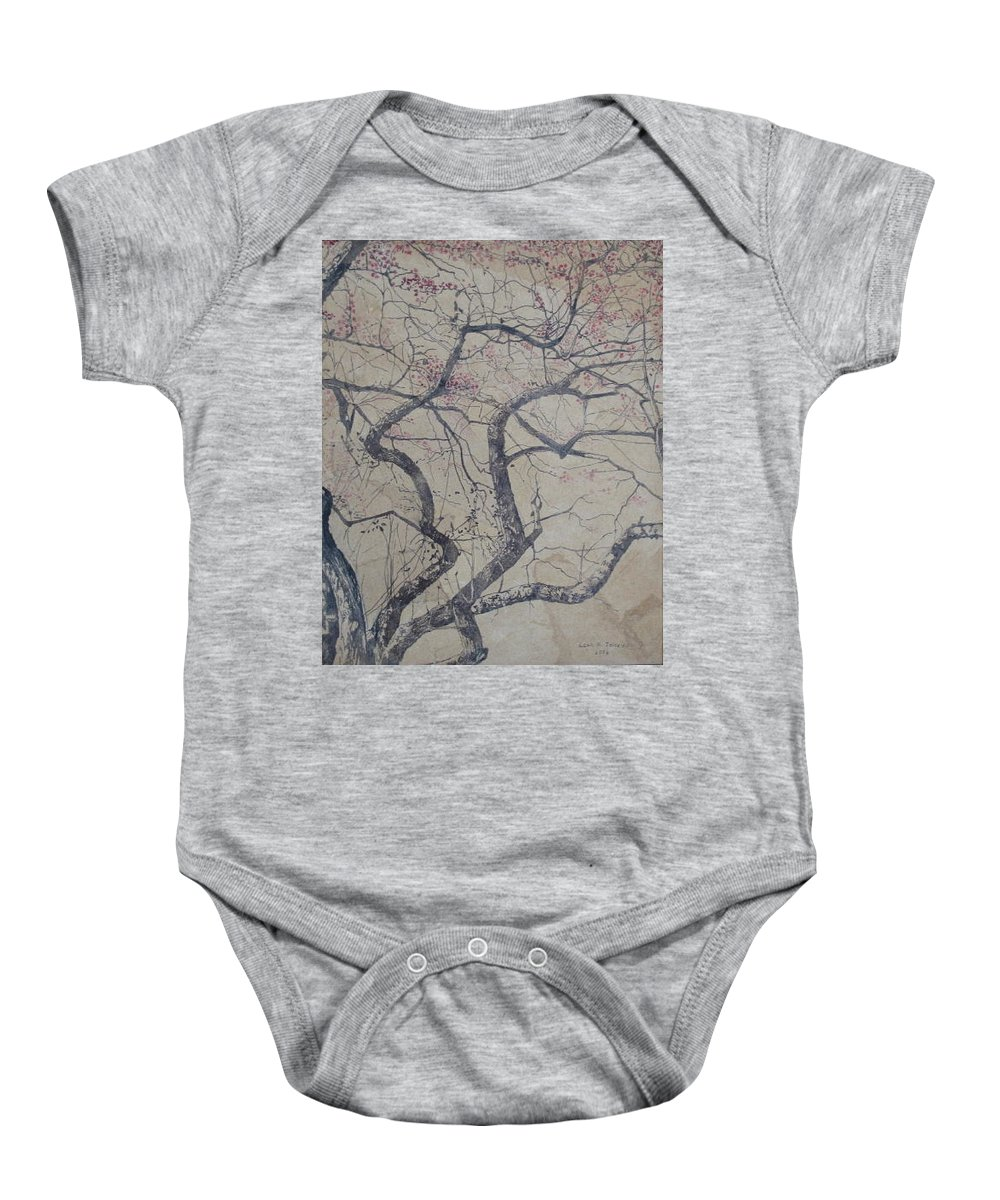 Crab Apple Baby Onesie featuring the painting Prairie Fire by Leah Tomaino