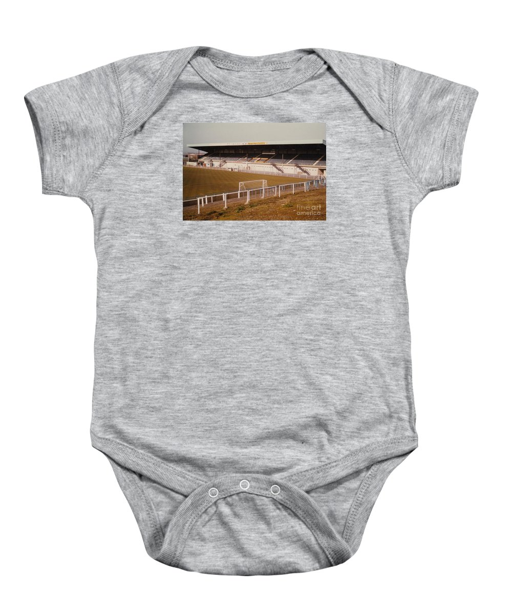 Baby Onesie featuring the photograph Chester - Sealand Road - Main Stand 2 - 1979 by Legendary Football Grounds