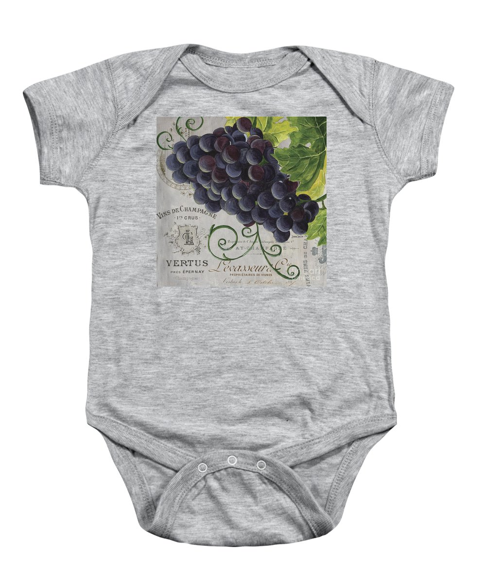 Grapes Baby Onesie featuring the painting Vins de Champagne 2 by Debbie DeWitt