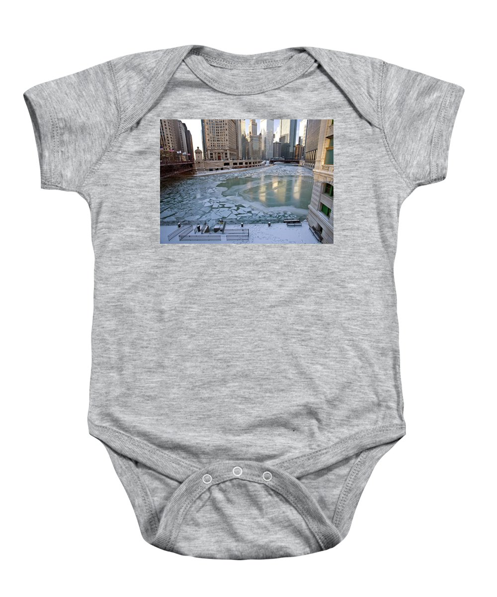 Chicago Baby Onesie featuring the digital art Chicago Downtown City Night Photography Wrigley Square by Mark Duffy